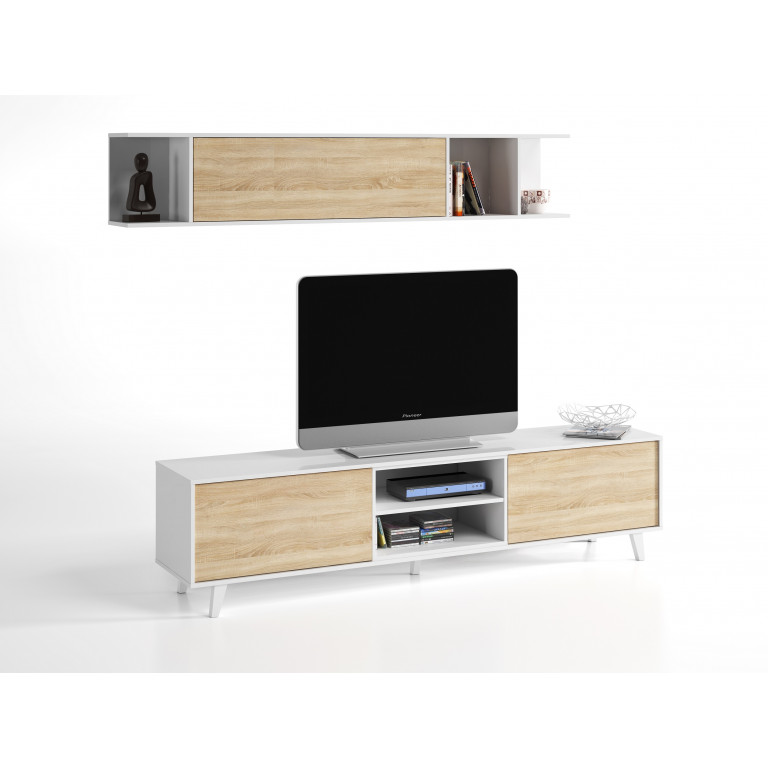 Modulo tv con estante colgar STYLUS PLUS blanco brillo y roble canadian.