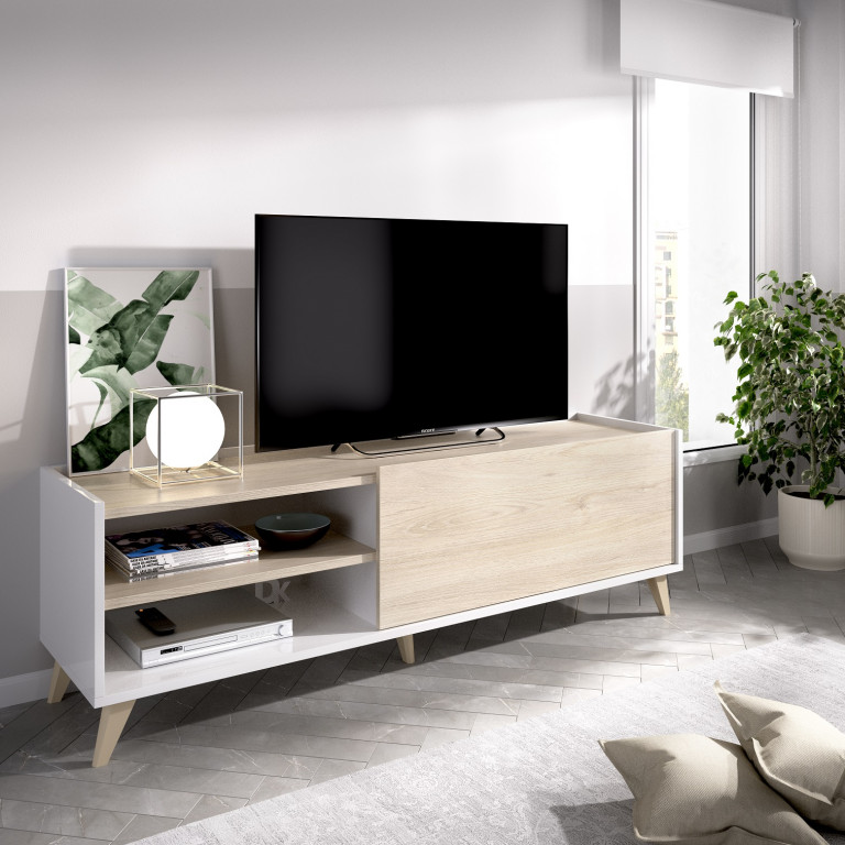 Bajo TV modelo NESS 03K5433286 en color natural con blanco brillo