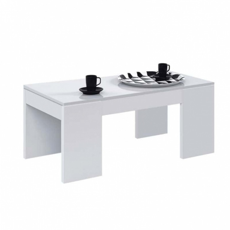 Mesa de centro elevable FLOW 001637BO en blanco brillo