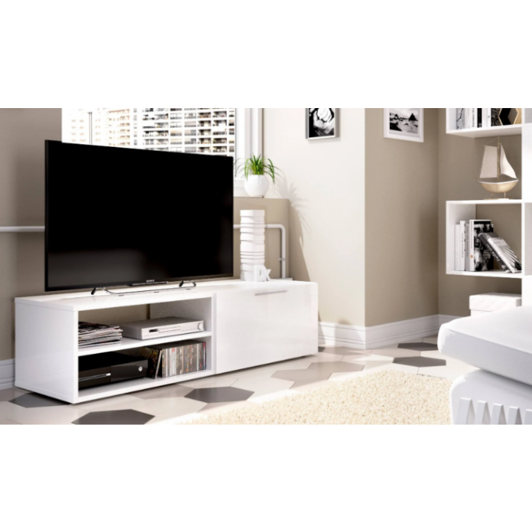 Bajo TV 33x131cm modelo SOHO en color blanco brillo