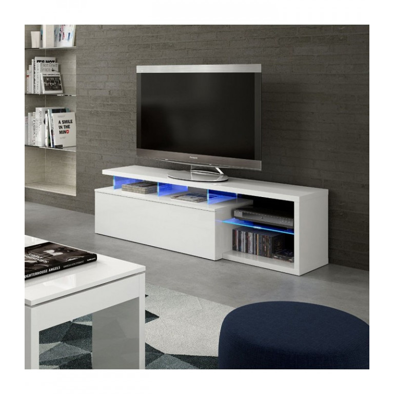 Mueble Tv Modelo BLUE-TECH acabado en blanco