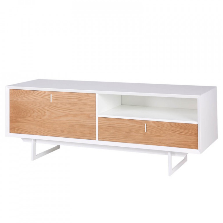Mueble TV Blanco/Roble Porto. Modelo MB3153-24