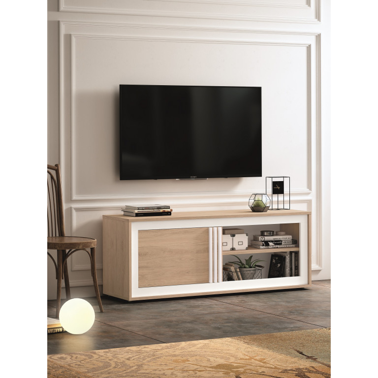 Mesa para tv en roble aurora/blanco roto BASIC F2013