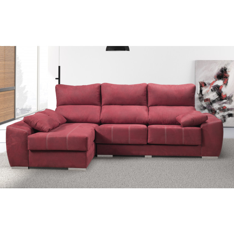Sof tres plazas con chaise longue asientos deslizantes for Sofa tres plazas chaise longue